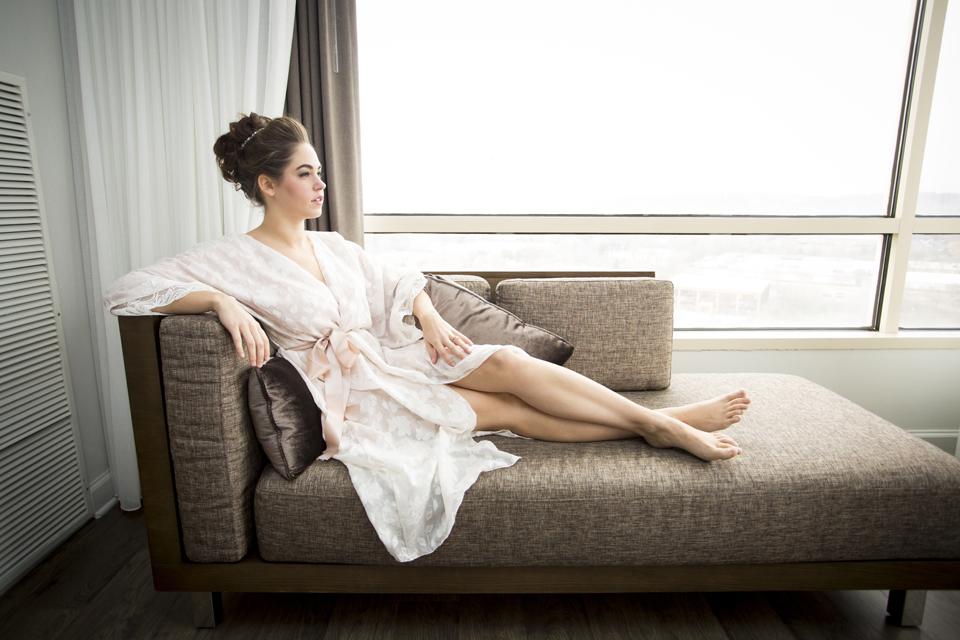 bride in her morning robe