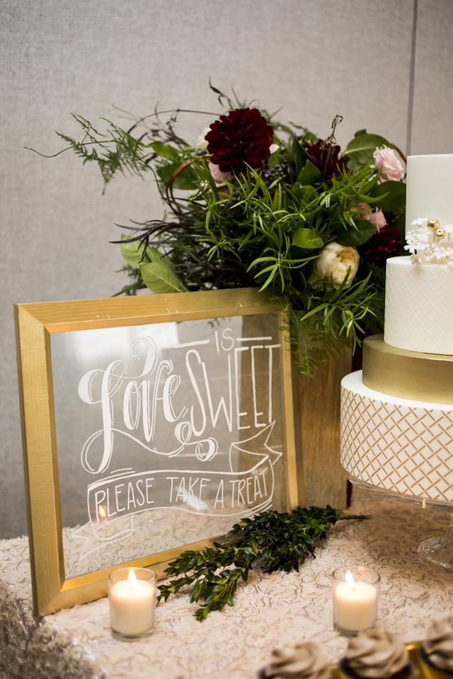 hand written clear wedding sign