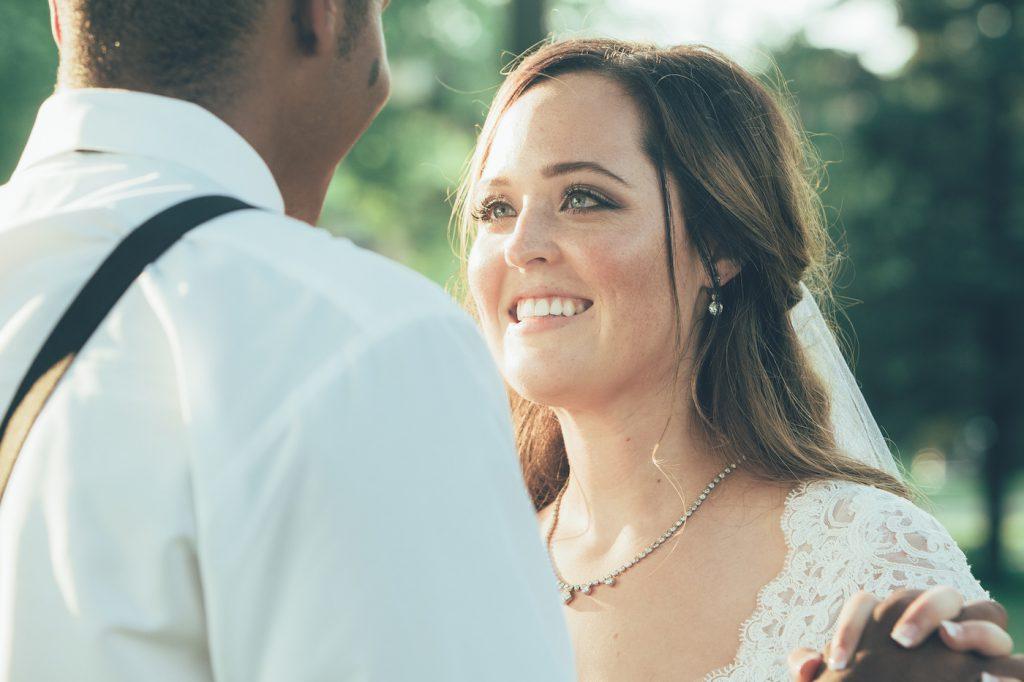 Bridal hair and makeup | half up half down | groom in suspenders