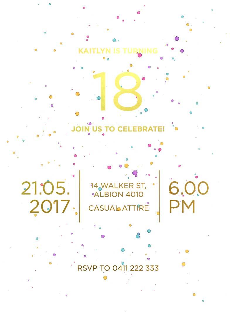 Watercolour Splash birthday invitation templates