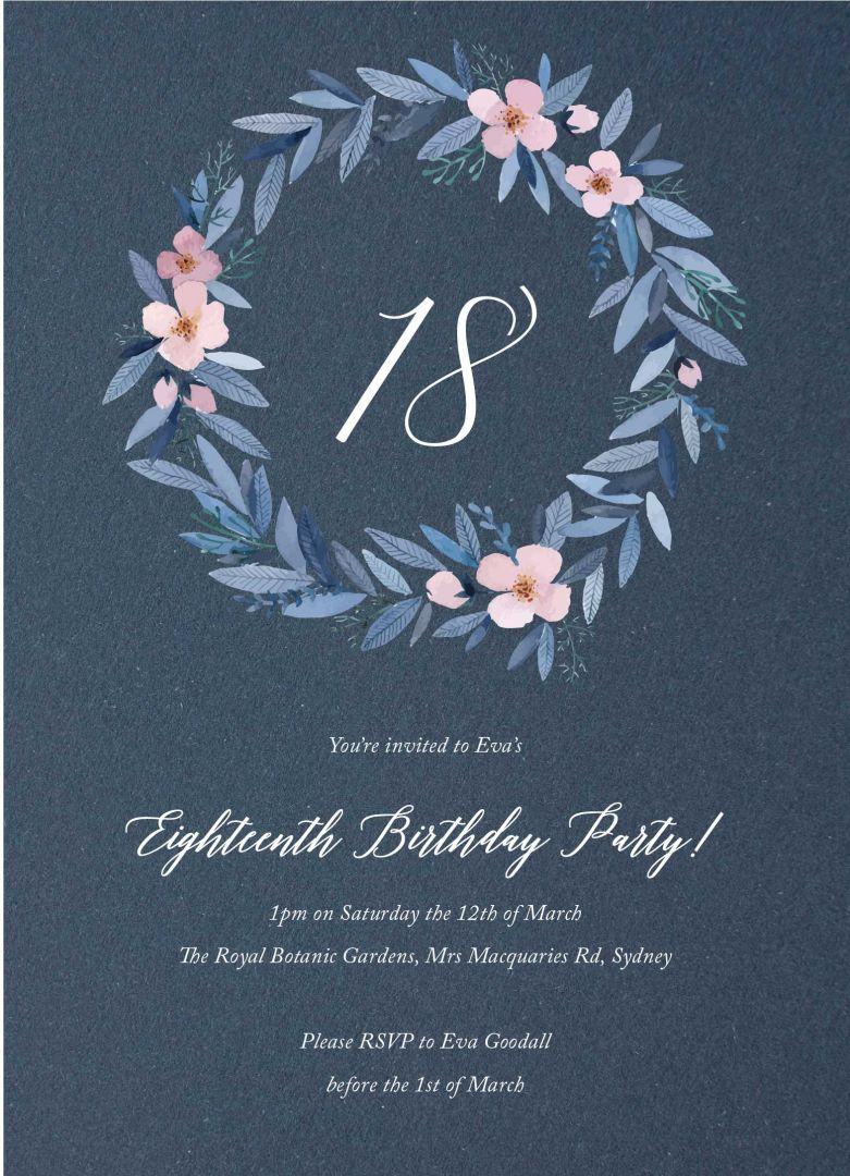 Watercolour Wreath birthday invitation templates