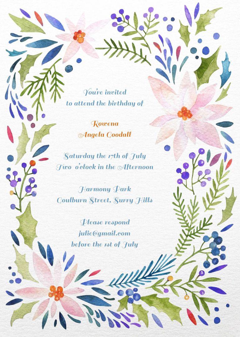 Colourful Floral birthday invitation templates