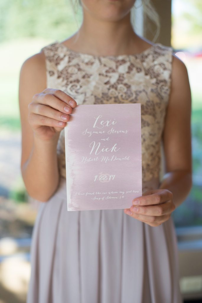 blush invite with lace two piece bridesmaid dress