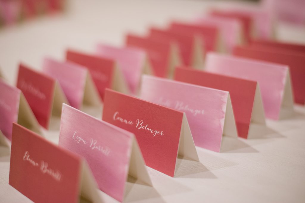 escort cards with watercolor brush | pink and blush