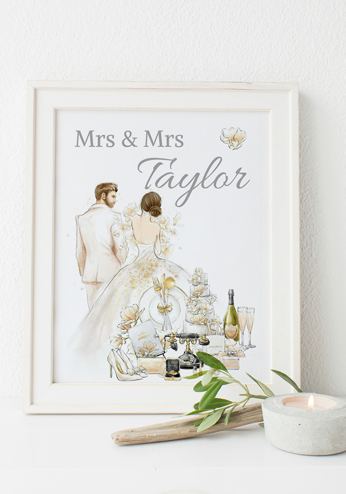 Turn to Pebble Shore Paperie Boutique for bespoke Wedding Gifts & Prints