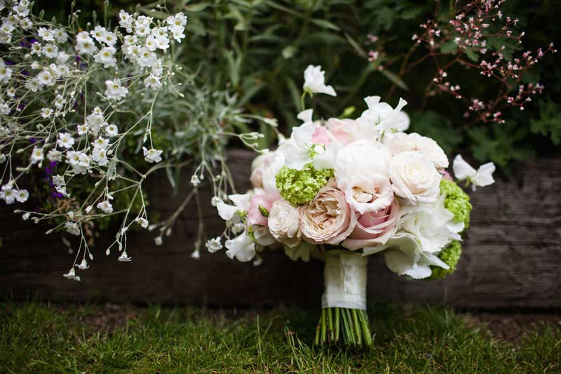 Peony bouquet with ivory handle