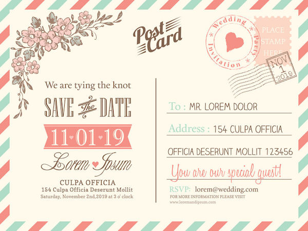 save the date - wedding planning - vintage save the date post card - wedding guests- wedding invitations