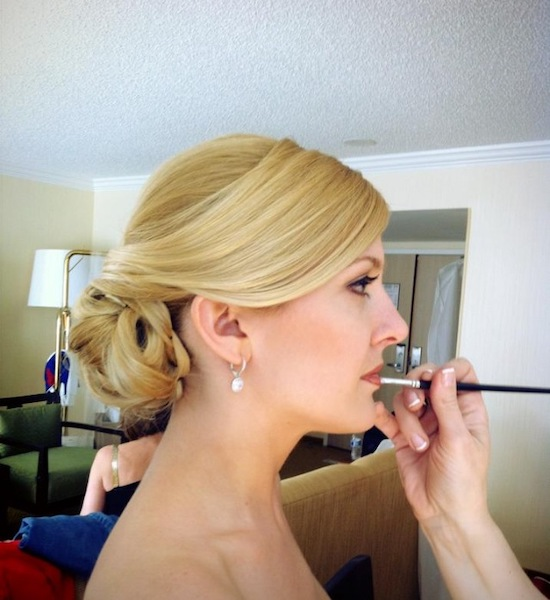 Bella Angel - Hair and Makeup Services Philadelphia - touching up lipstick