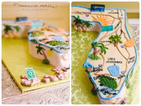 Grooms Cake - Map of Florida Grooms Cake - A Piece of Cake Tampa Florida