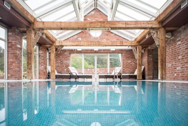 indoor pool at The Barn, Lakes Edge at Pudleston Court